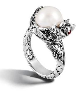 'naga - Lava' Dragon & Pearl Ring