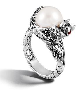 'naga - Lava' Dragon & Pearl Ring