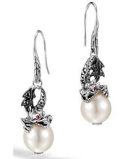 'naga - Lava' Dragon & Pearl Drop Earrings