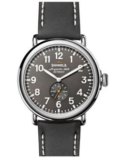 'the Runwell' Leather Strap Watch