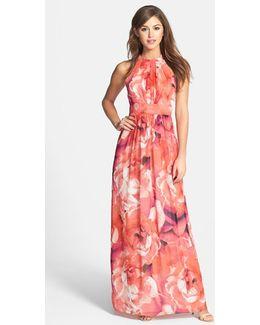 Print Chiffon Fit & Flare Maxi Dress