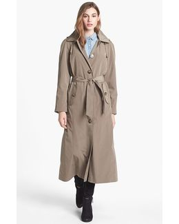 Long Trench Coat With Detachable Hood & Liner