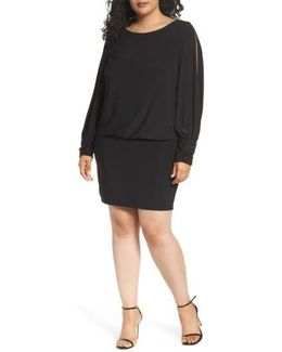 Embellished Cuff Blouson Jersey Dress