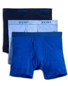 3-pack Cotton Boxer Briefs, Blue
