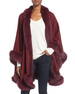 Genuine Fox Fur Trim Cape