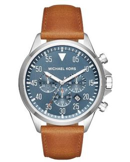 'gage' Chronograph Leather Strap Watch