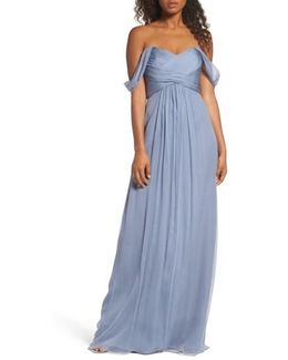 Convertible Crinkled Silk Chiffon Gown