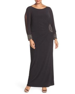 Embellished Stretch Jersey Long Dress