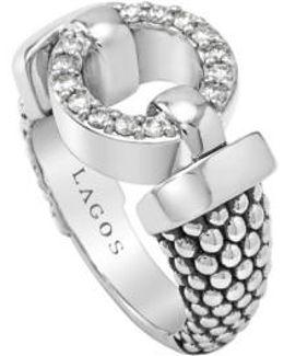 'enso - Circle Game' Diamond Caviar Ring