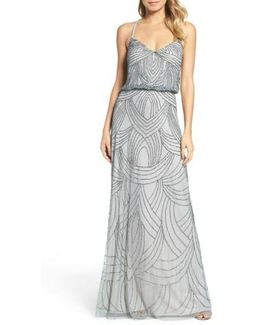 Beaded Chiffon Blouson Dress