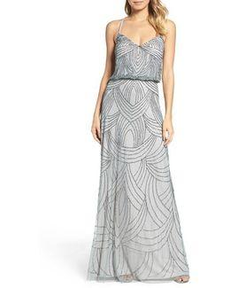 Beaded Chiffon Blouson Dress