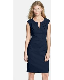 Side Pleat Sheath Dress