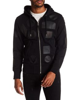 Black Leather Patch Zip Up Hoodie