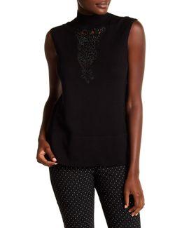 Sleeveless Crystal Lace Stud Knit Tee