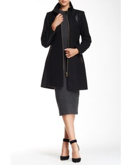 Pu Trim Zip Front Wool Blend Coat