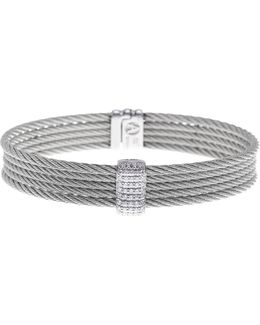 18k White Gold & Stainless Steel Pave Diamond Bracelet - 0.41 Ctw