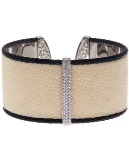18k White Gold, Stingray Inset, & Black Stainless Steel Diamond Wide Cuff Bracelet - 0.62 Ctw