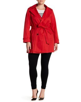 Hooded Trench Coat (plus Size)