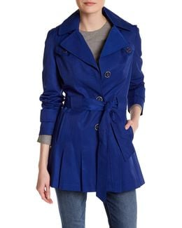 Pleated Hem Trench Coat