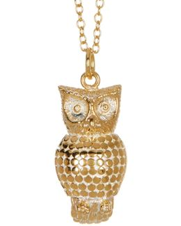 18k Gold Plated Sterling Silver Owl Pendant Necklace