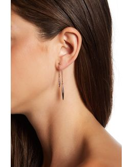 Crystal Detail Chain Drop Front & Back Earrings