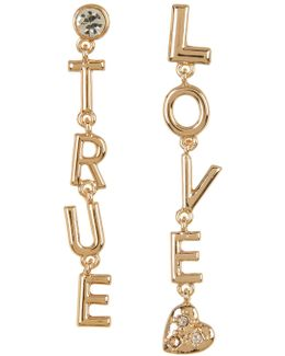 Crystal Detail True Love Drop Earrings