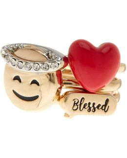 Crystal & Enamel Detail Blessed 3-piece Ring Set - Size 7