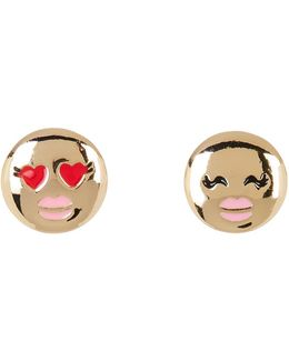 Enamel Detail Emoji Stud Earrings