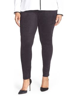 High Waist Faux Suede Leggings (plus Size)