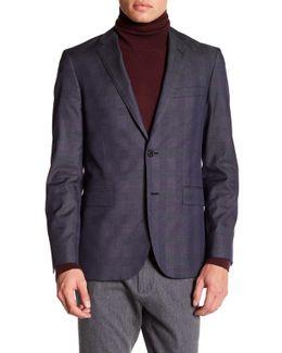 Notch Lapel Two Button Blue Print Jacket
