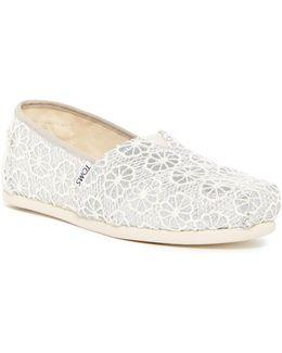 Glitter Crochet Alpargata Slip-on Flat