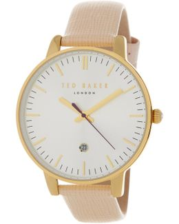 Women's Date Function Leather Strap Watch