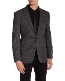 Grey Plaid Two Button Notch Lapel Wool Sport Coat
