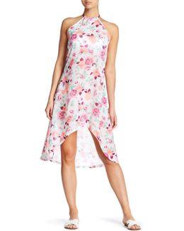 Sleeveless Sheer Floral Print Dress