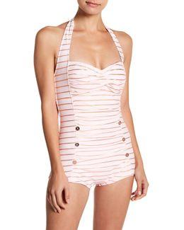 Halter Stripe One Piece Swimsuit