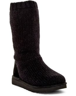 Capra Ribbed Knit Genuine Shearling Lined Boot