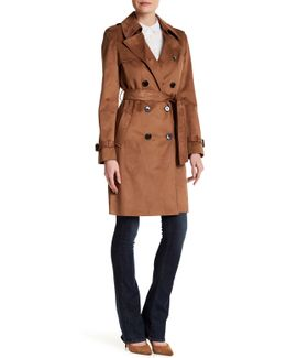 Double Breasted Faux Suede Trench Coat