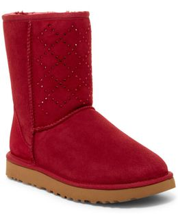 Classic Short Crystal Genuine Shearling Lined Boot