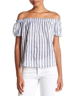 Stripy Off-the-shoulder Shirt