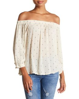 Pukki Off-the-shoulder Dot Shirt