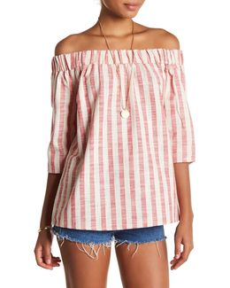 Laura Off-the-shoulder Stripe Shirt