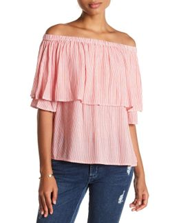 Jane Off-the-shoulder Stripe Shirt