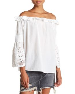 Lux Eyelet Off-the-shoulder Shirt