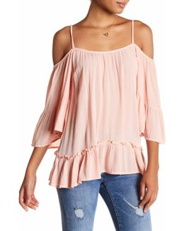Bom Cold Shoulder Ruffle Shirt