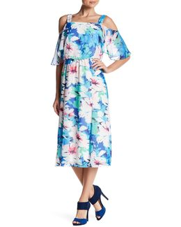 Cold Shoulder Printed Midi Dress