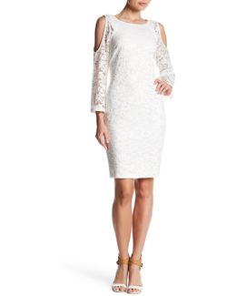 Cold Shoulder Raglan Lace Dress