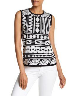 Geo Print Jacquard Knit Sweater Tank