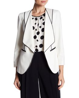 Contrast Piping Drape Neck Jacket