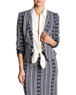 Print Linen-blend Jacket