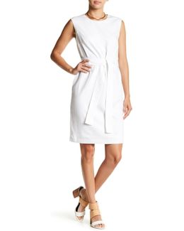 Belted Linen-blend Dress